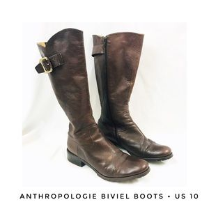 Anthropologie Women's 10 Brown Leather Boots Tall